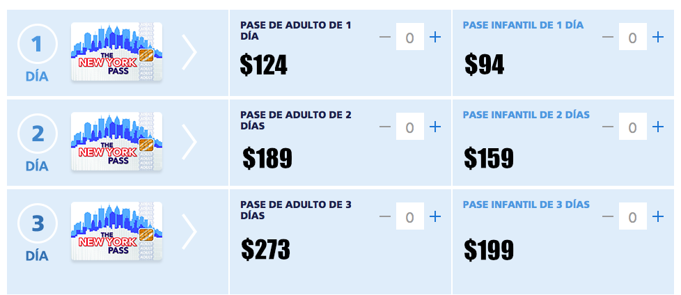 Puntos recogida new york pass